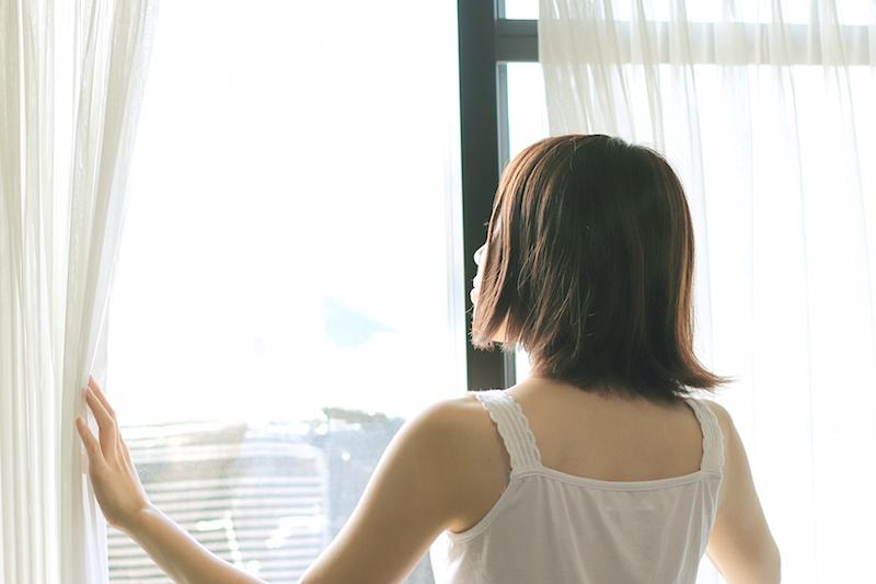 爽やかな朝のカーテン